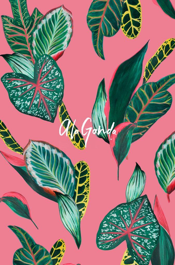 tropical-leaves-pink-a-la-gonda